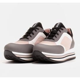 Marco Shoes Sneakers leggere su una suola spessa in pelle naturale grigio 4