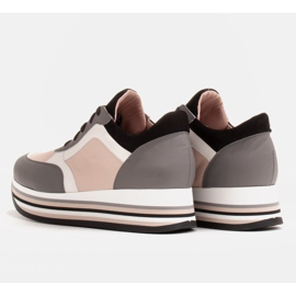 Marco Shoes Sneakers leggere su una suola spessa in pelle naturale grigio 5