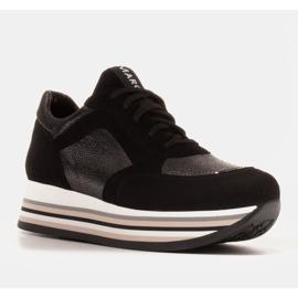 Marco Shoes Sneakers leggere su una suola spessa in pelle naturale nero 1