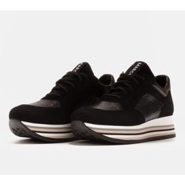Marco Shoes Sneakers leggere su una suola spessa in pelle naturale nero 3