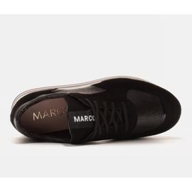Marco Shoes Sneakers leggere su una suola spessa in pelle naturale nero 5