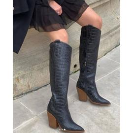 Marco Shoes Stivali alti da donna stivali da cowboy, fantasia cocco nero 8