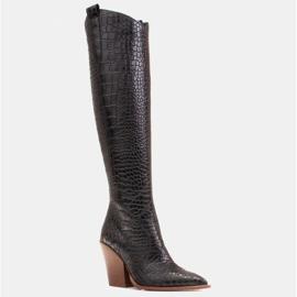 Marco Shoes Stivali alti da donna stivali da cowboy, fantasia cocco nero 1