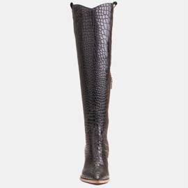 Marco Shoes Stivali alti da donna stivali da cowboy, fantasia cocco nero 2