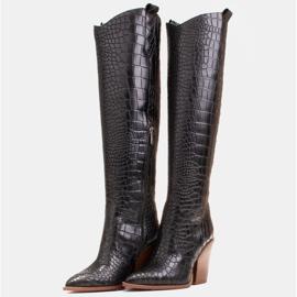 Marco Shoes Stivali alti da donna stivali da cowboy, fantasia cocco nero 4