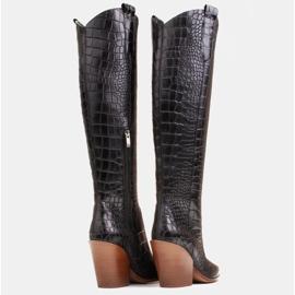 Marco Shoes Stivali alti da donna stivali da cowboy, fantasia cocco nero 5