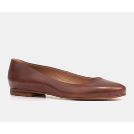 Marco Shoes Ballerine in pelle fiore marrone, lucidate a mano 1