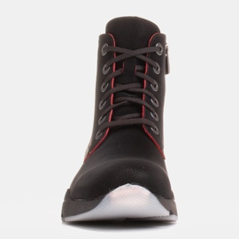 Marco Shoes Stivali sportivi da donna in nabuk con inserti rossi nero 1
