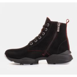 Marco Shoes Stivali sportivi da donna in nabuk con inserti rossi nero 2