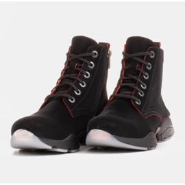 Marco Shoes Stivali sportivi da donna in nabuk con inserti rossi nero 3