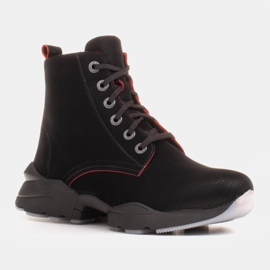 Marco Shoes Stivali sportivi da donna in nabuk con inserti rossi nero 6