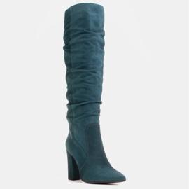 Marco Shoes Stivali verdi alti e stropicciati in camoscio naturale natural verde 1