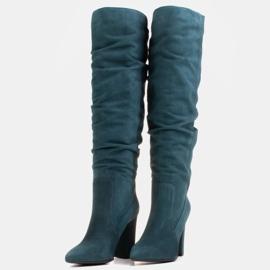 Marco Shoes Stivali verdi alti e stropicciati in camoscio naturale natural verde 5