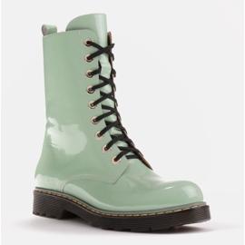 Marco Shoes Stivaletti alti, stivali legati su una suola traslucida verde 1