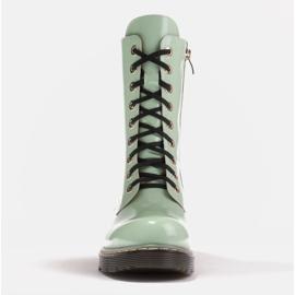 Marco Shoes Stivaletti alti, stivali legati su una suola traslucida verde 2
