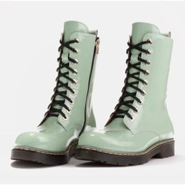 Marco Shoes Stivaletti alti, stivali legati su una suola traslucida verde 4