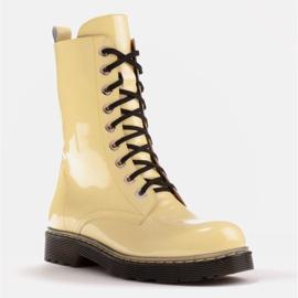 Marco Shoes Stivaletti alti, stivali legati su una suola traslucida giallo 1