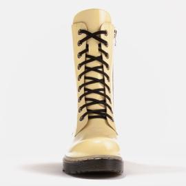 Marco Shoes Stivaletti alti, stivali legati su una suola traslucida giallo 2