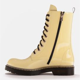 Marco Shoes Stivaletti alti, stivali legati su una suola traslucida giallo 3