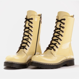 Marco Shoes Stivaletti alti, stivali legati su una suola traslucida giallo 4