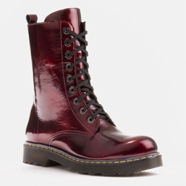 Marco Shoes Stivaletti alti, stivali legati su una suola traslucida rosso 1
