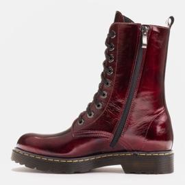 Marco Shoes Stivaletti alti, stivali legati su una suola traslucida rosso 3