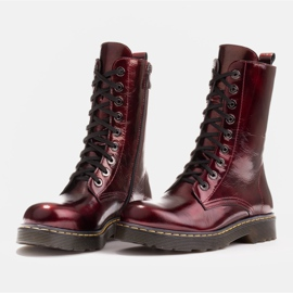 Marco Shoes Stivaletti alti, stivali legati su una suola traslucida rosso 4