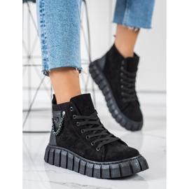 Seastar Sneakers In Pelle Scamosciata Con Catena nero 4