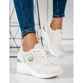 SHELOVET Sneakers con zeppa leggera beige 4