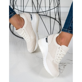 SHELOVET Sneakers con zeppa leggera beige 1