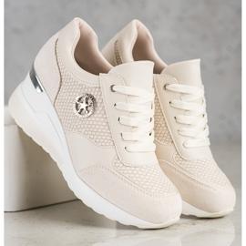 SHELOVET Sneakers con zeppa leggera beige 2