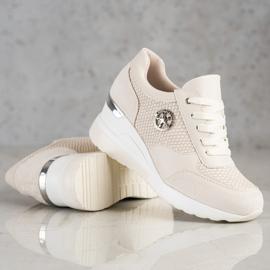 SHELOVET Sneakers con zeppa leggera beige 3