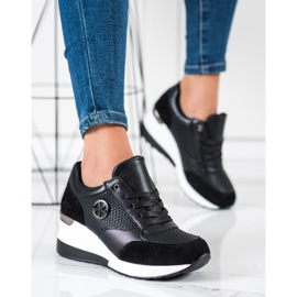SHELOVET Sneakers con zeppa leggera nero 4