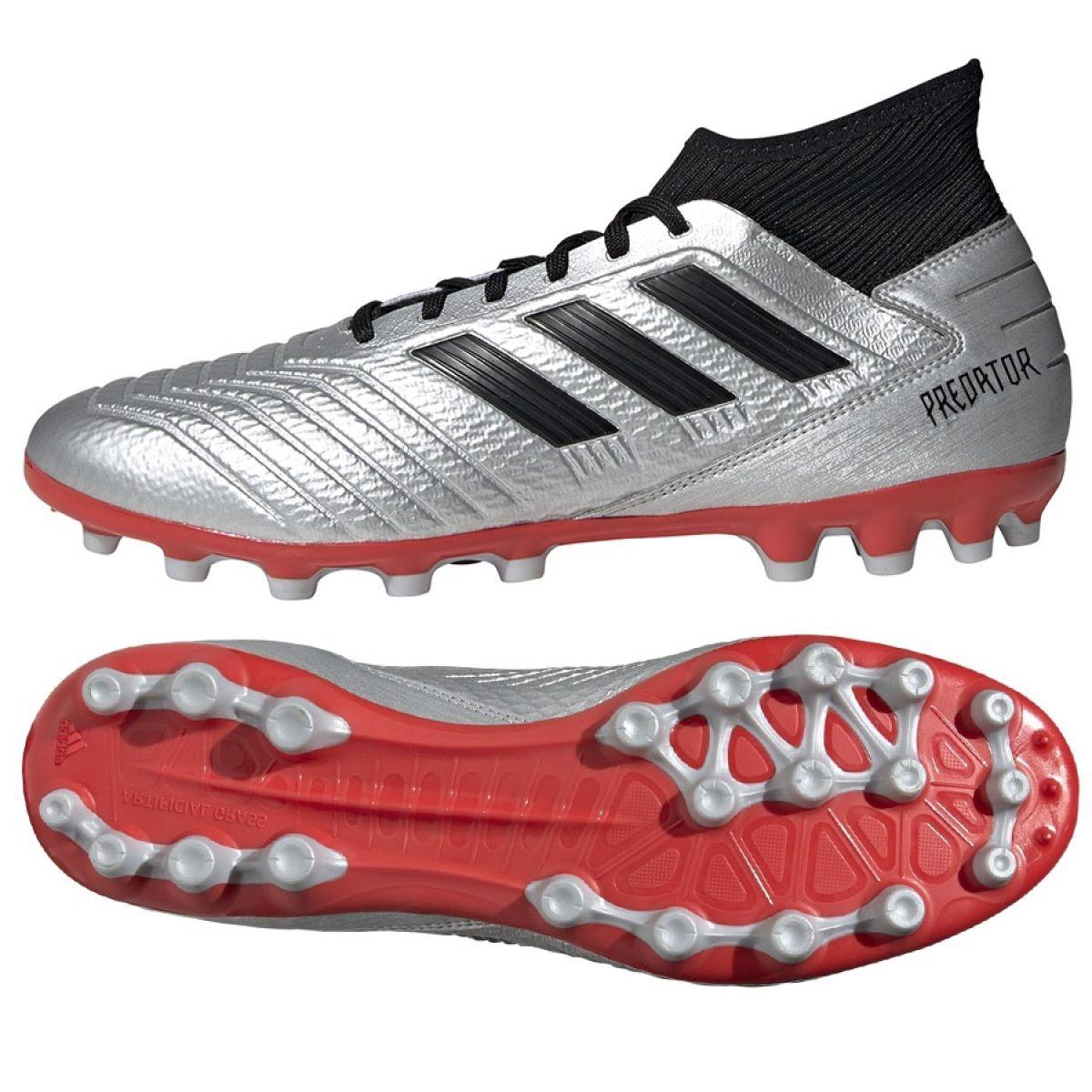 Dettagli su Scarpe da calcio adidas Predator 19.3 Ag M F99989 argento nero, grigio argento