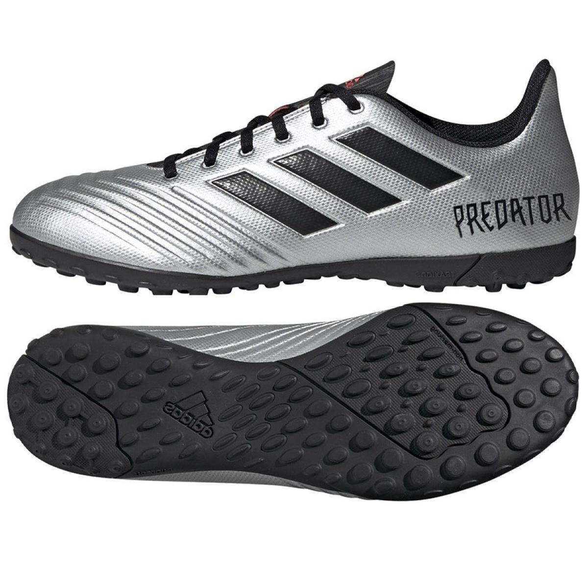 Dettagli su Scarpe da calcio adidas Predator 19.4 Tf M F35634 argento nero, grigio argento