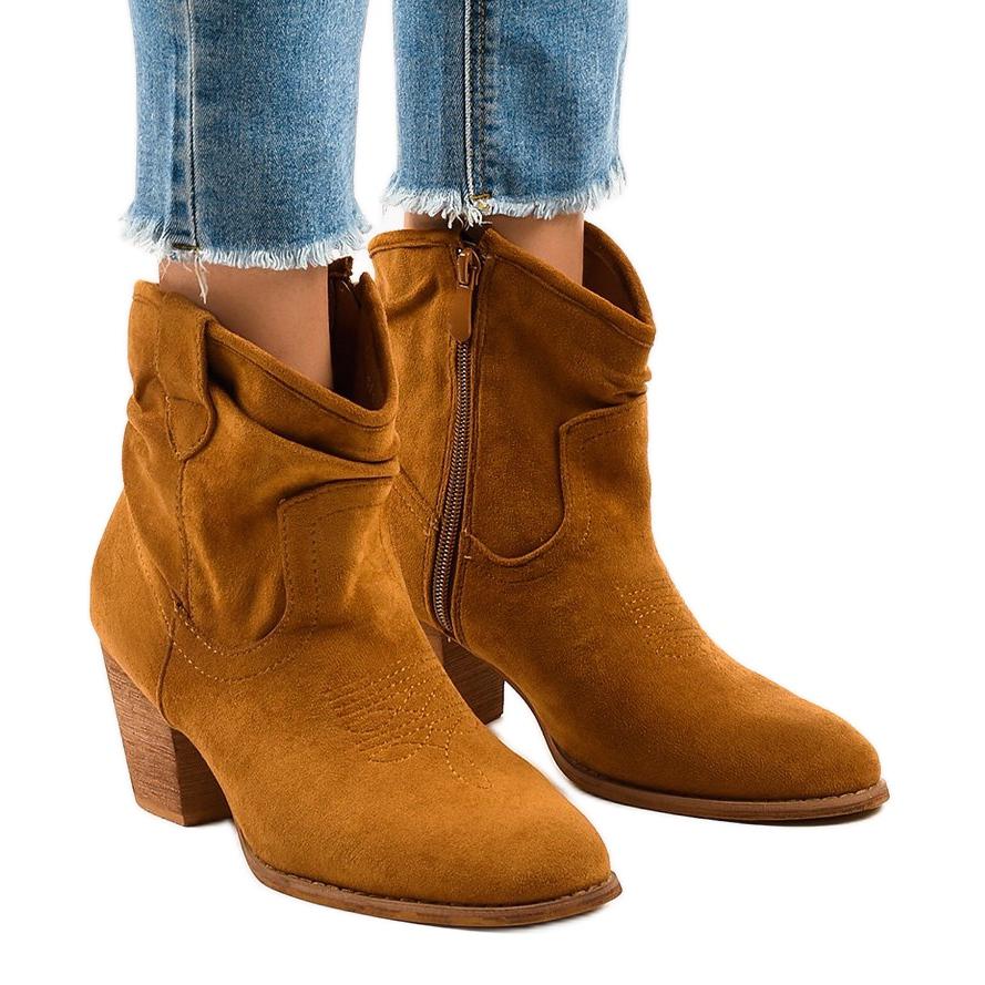 Stivali di camoscio cammello sul palo SA 3339 marrone   eBay